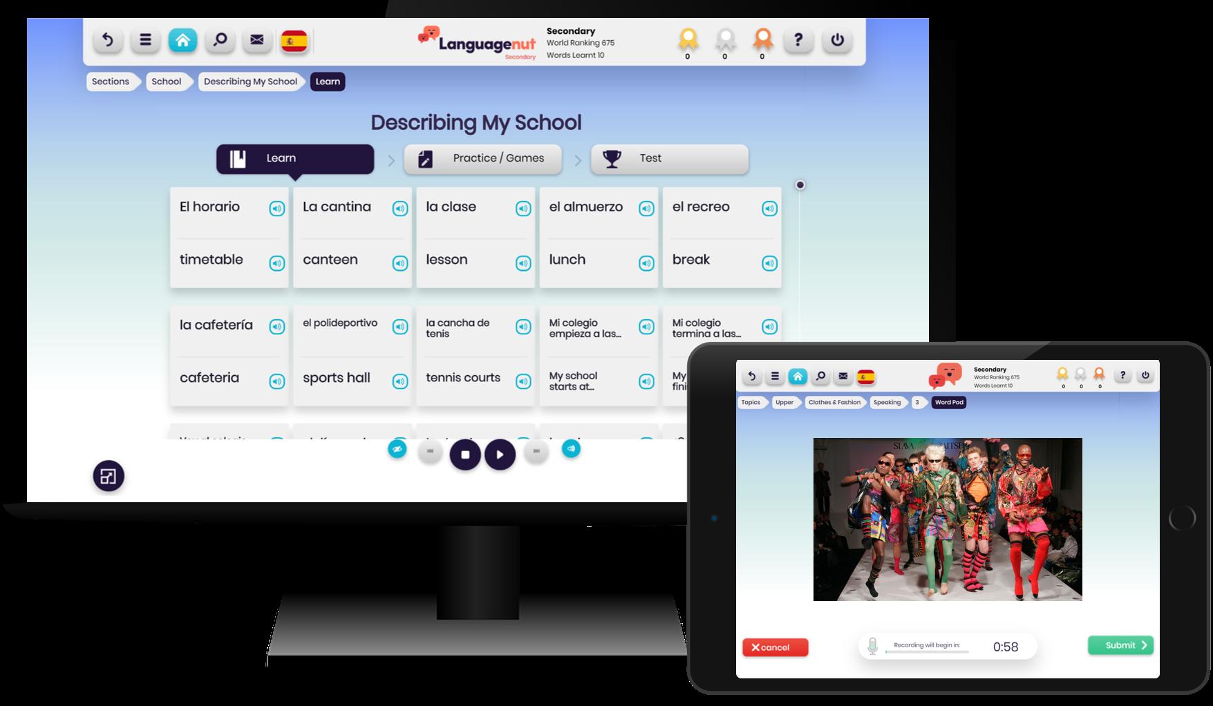 Languagenut Secondary   Secondary Language Platform